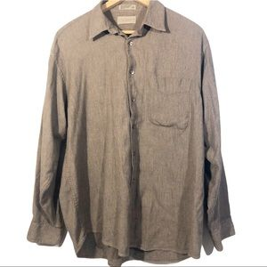 City Casuals Brown Cotton Button Down Shirt Large